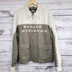 Harley davidson textured jacket zip dual pockets